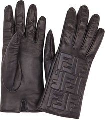 fendi leather ff embossed gloves - black