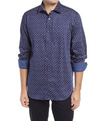 bugatchi classic fit flower print button-up shirt, size xxx-large in midnight at nordstrom