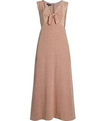 dotted tie-front silk dress