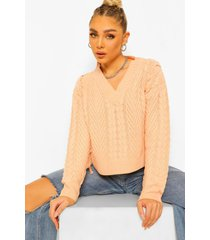 lace up cable crop sweater, peach