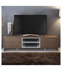 rack para tv até 75 polegadas madesa metz 180 cm 2 portas rustic/branco branco