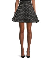 balmain women's quilted & spike leather skirt - black silver - size 36 (4)