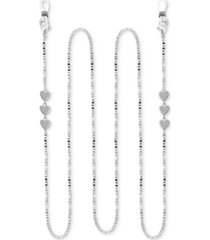 """essentials mariner link heart 25"""" glasses or face mask chain in fine silver or gold plate"""