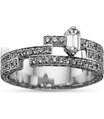 'disruptive' pavé diamond 18k white gold three tier ring