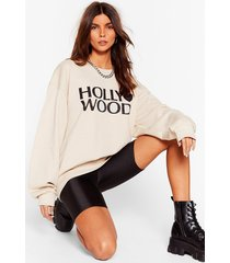 womens made in hollywood oversized graphic sweatshirt - sand