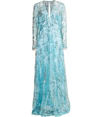 aqua long sleeve paillette embroidered gown