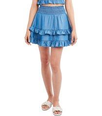 bcbgeneration ruffled chambray mini skirt