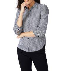 women's court & rowe gingham check dobby shirt, size xx-large - black
