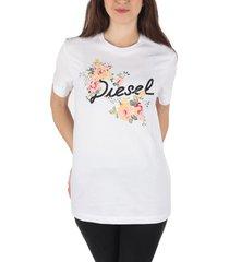 diesel designer t-shirts & tops, flavia flower white printed cotton t-shirt