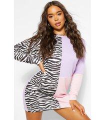 animal print colour block sweat dress, pink