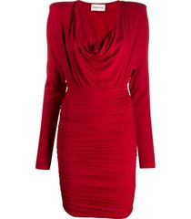 alexandre vauthier draped neck jersey dress - red