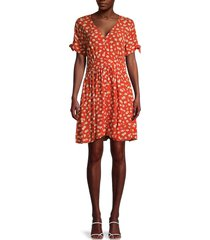 madewell women's floral button-front dress - red - size 2