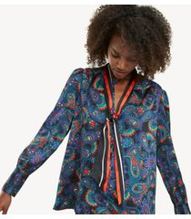 tommy hilfiger women's print scarf top paisley border - 6