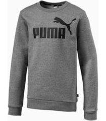 essentials boys' crew sweater, grijs/heide, maat 110 | puma
