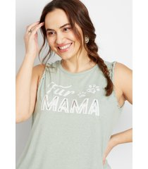 maurices plus size womens fur mama braided graphic tank top green