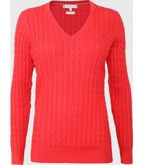 sweater tommy hilfiger rojo - calce ajustado