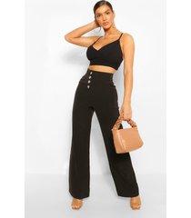 button front pocket side longline culottes, black