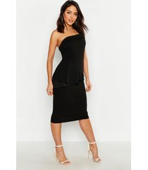 bardot waist peplum midi dress, black