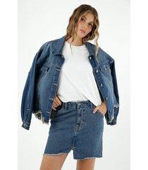 falda de mujer, silueta ajustada de diseño corto, 100% algodón, tono medio