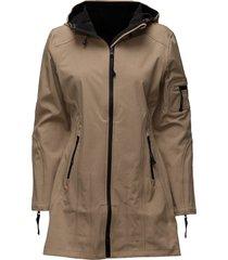 hip-length softshell raincoat regenkleding bruin ilse jacobsen