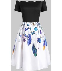 butterfly feather print scalloped off shoulder dress