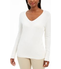 jm collection embellished-sleeve v-neck sweater, created for macy's
