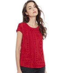 blusa desigual mc rojo - calce holgado