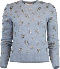 cashmere floral embellished pullover