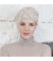 handknitted aran beret beige