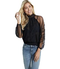 blusa ls luissa applique top negro guess