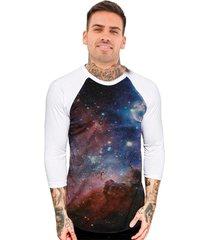 camiseta chess clothing manga 3 4 raglan estampada galáxia