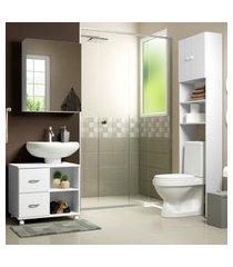 conjunto kit de banheiro com gabinete e armário multimóveis branco