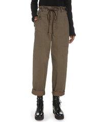 women's y's by yohji yamamoto drawstring high waist chino pants