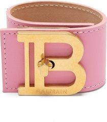 balmain logo plaque bracelet - pink