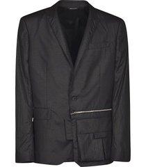les hommes peak lapel zipped detail jacket
