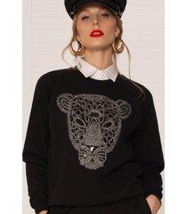 bluza czarna z tygrysem