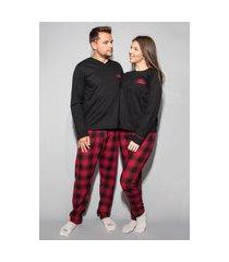 kit casal fem m, masc g. pijama xadrez blusa preta