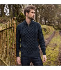 the dunmore aran sweater navy s