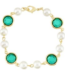 2028 gold-tone imitation pearl with dark green channels link bracelet