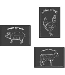placa decorativa churrasco boi porco frango giz kit 3un 20x30cm