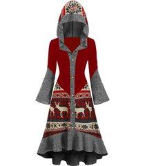 christmas elk hooded high low flounce hem knitted dress