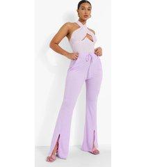 crêpe wide leg broek met touwtjes, lilac