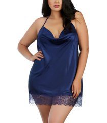 dreamgirl plus size slip with cowl neck and t-back strap
