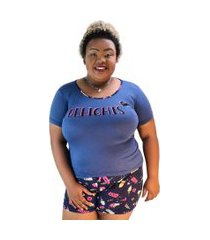 "pijama feminino delights"" azul marinho shorts estampado plus size"""