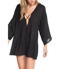 women's robin piccone michelle tunic cover-up, size large - black