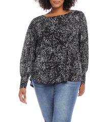 plus size women's karen kane print bishop sleeve blouse, size 3x - black