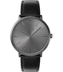 boss hugo boss men's horizon black leather strap watch 40mm