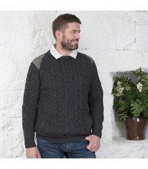 tweed shoulder merino crew neck sweater charcoal xl