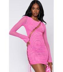 akira tease me lace up long sleeve dress