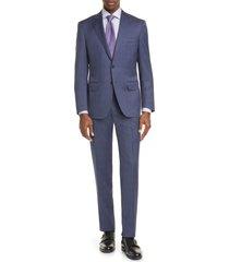 men's big & tall canali siena soft classic fit plaid wool suit